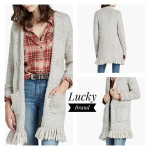 Lucky Brand Fringe Cardigan Size Small
